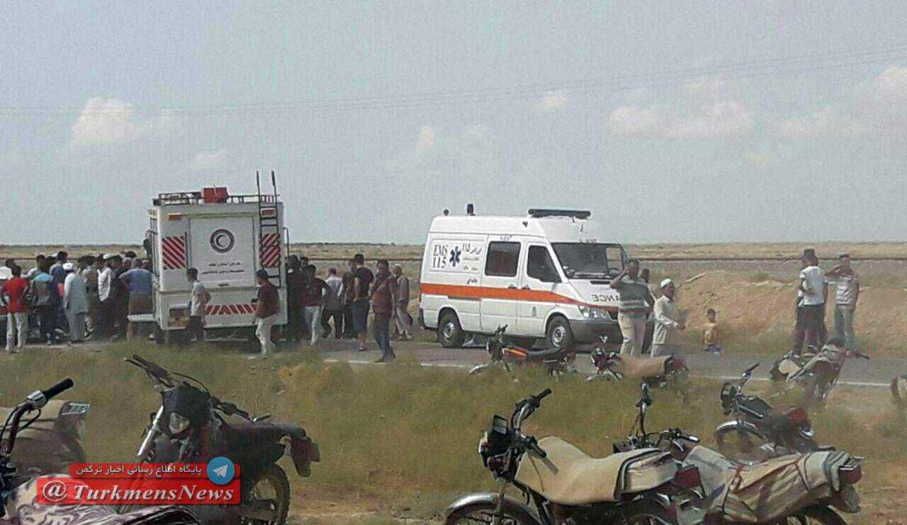 Tasadof Jadei 1024x593 - ۴ کشته و ۲ زخمی در تصادف دو دستگاه سواری جاده آق قلا - اینچه برون+تصوير